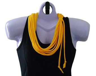 FABRIC NECKLACE, Golden Yellow, School Bus Yellow, Upcycled T-shirt Fabric, Handmade, Ready to Ship