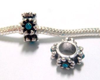 3 Beads - Blue Flower Rhinestone Silver European Charm Bead E1240