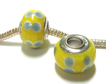 3 Beads - Yellow Gray White Dots Lampwork Silver European Charm Bead E1327
