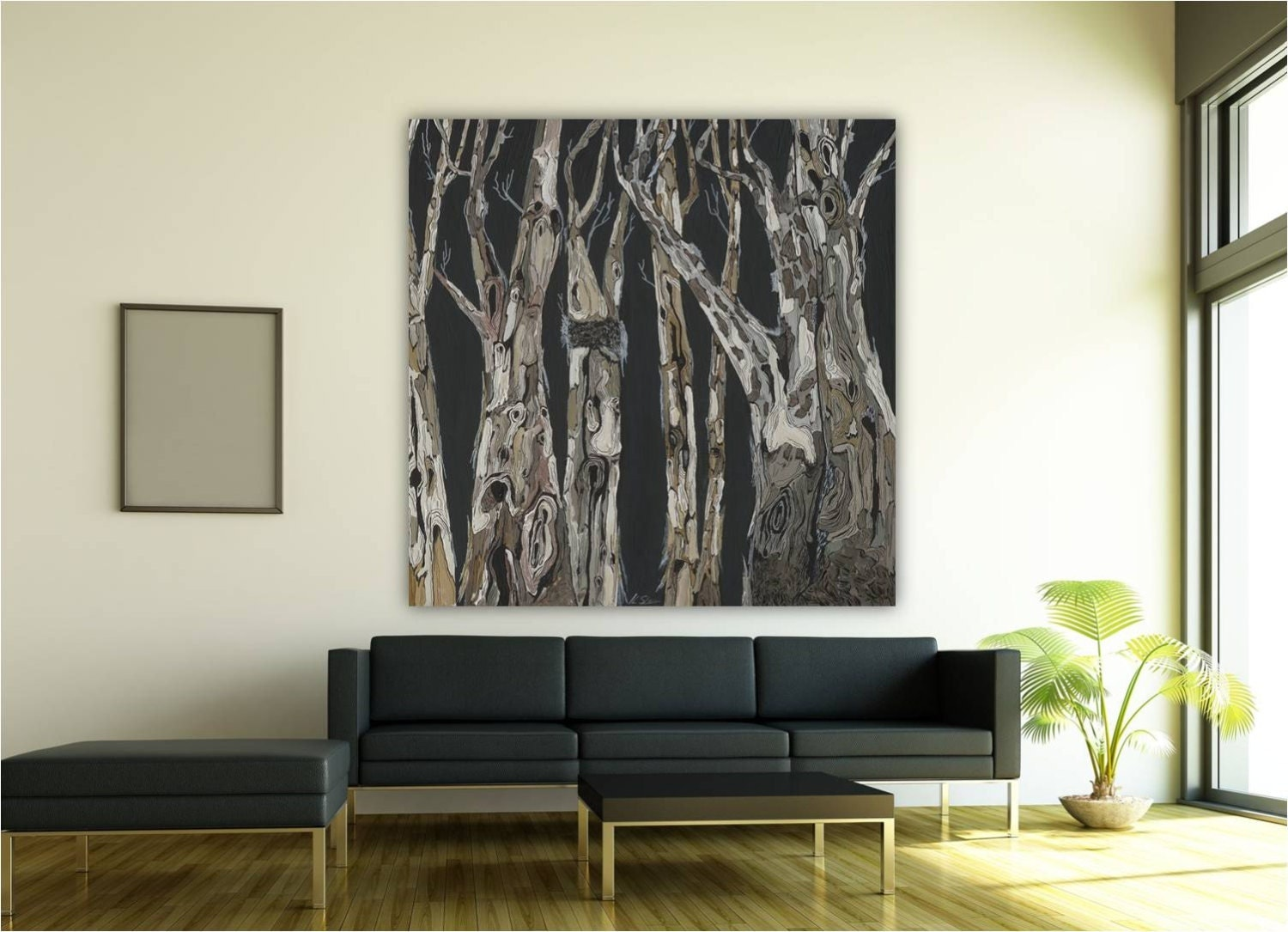 Wall art extra large modern artwork dining room tree art black for Large wall decor for dining room