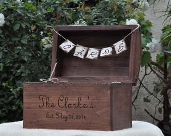 Large Rustic Wedding Card Box-Treasure Chest