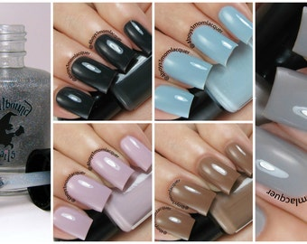 FULL SIZE The Neutrals with free holographic topper - custom handcrafted neutral colored creme nail polish collection