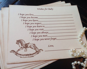 Rocking horse wish cards-Wishes for baby-gender neutral baby shower games-baby shower-fill in the blank game-set of 12