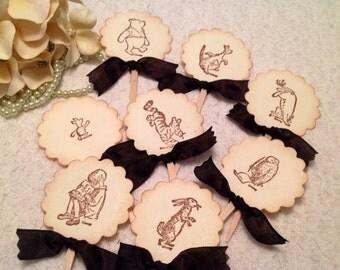 Winnie the Pooh Cupcake Topper-Pooh Cupcake Picks-Tigger, Eeyore, Piglet cupcake picks- set of 24