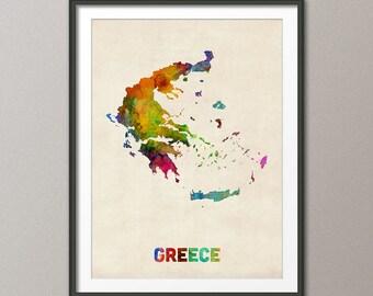 Greece Watercolor Map, Art Print (625)
