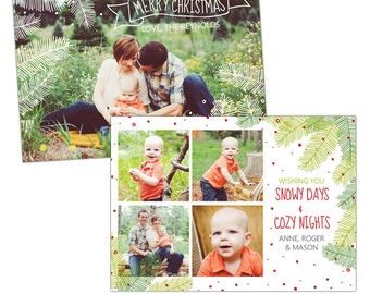 INSTANT DOWNLOAD - Christmas Holiday Card Photoshop template - e917