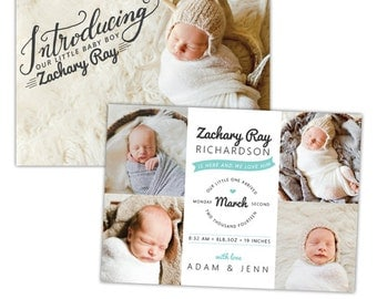 INSTANT DOWNLOAD - Photoshop Birth announcement template -  e1061
