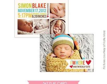 INSTANT DOWNLOAD - Birth announcement template- E315