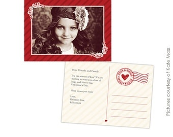 INSTANT DOWNLOAD  - Valentine Card Photoshop Template - Xoxo Postcard - E267
