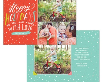 INSTANT DOWNLOAD - Christmas Card Photoshop template - E1083