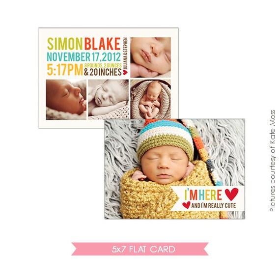 INSTANT DOWNLOAD - Birth announcement template- E315