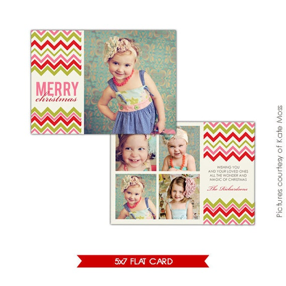 INSTANT DOWNLOAD  -  Holiday Card Photoshop Template - Colorful Joy - E170