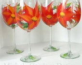 Red Orange Green Wild Flower Painted Wineglass - Set of 4