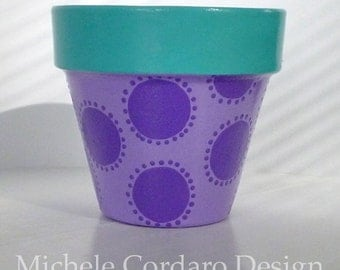 Purple Polka Dots Painted Flower Pot  - 6-inch
