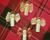 Caroling Cork Angels/set of 3/Cork Ornaments/Chritmas Ornaments/Wine Bottle Accents/Christmas Angels/Christmas Party Favors