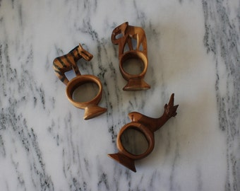 Set of Three Retro Teak Safari Napkin Rings
