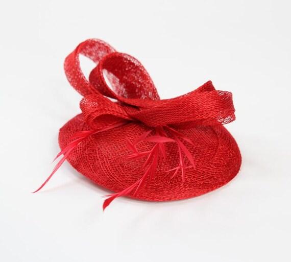 Fascinator Sinamay Red Cocktai Hat