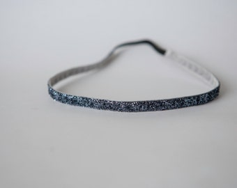"No Slip Headband Charcoal Glitter 3/8"" or 5/8"""