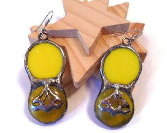 Stained Glass Earrings Yellow Glass Earrings Round Glass Earrings Handmade Jewelry  Statement Earrings Yellow Glass Circle Earring Jewelry