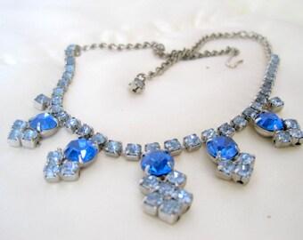 Blue Rhinestone Necklace -  Wedding Prom Choker