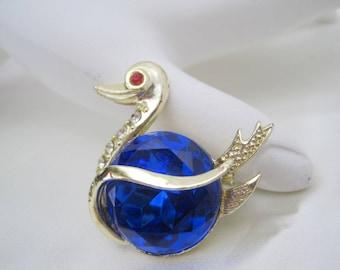 Blue Swan Brooch Faceted Rhinestone  Pin
