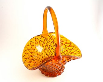 50's Vintage Glass Basket, Amber Glass, Gold Glass Vase, Collectable Glass