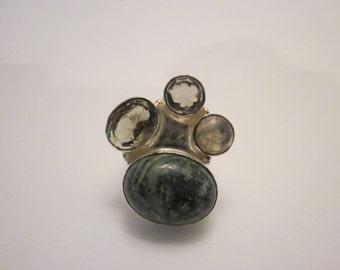 Sterling Silver Jasper Labradorite and Smokey Quartz Ring Size 6 Free Shipping
