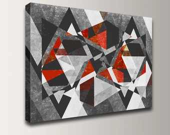 "Modern Art - Abstract Painting - Canvas Print - Black, Grey, White and Red - Geometric Wall Decor - Oversized Wall Art - ""Vertex"""