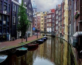 Gallery Wrap Canvas - Amsterdam Canal Houses - Choose a size, BW or Color