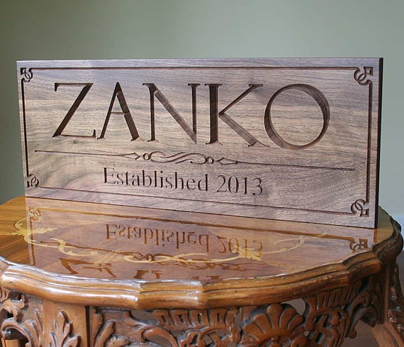 Personalized Family Established Sign Anniversary Family Name Wood Sign Personalized Sign Family Name Sign In Wood Walnut PP