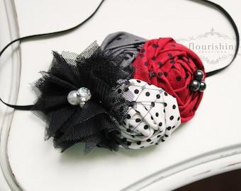 Red, Black and Grey rosette flower headband, holiday headbands, newborn headbands, red headbands, photography prop, christmas headbands