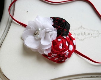 Red, Black and White flower headband, baby headbands, newborn headbands, red headbands, photography prop, black headbands