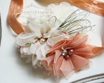 Peach and Ivory headbands, vintage headbands, peach headbands, chiffon headband, newborn headbands, photography prop