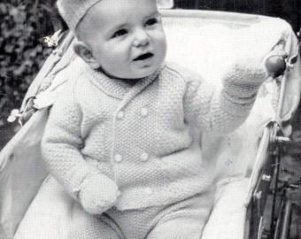 Baby Jacket Beret Mittens & Leggings in DK 8ply for Size 22 ins - Lee Target 1334 - pdf of Vintage Knitting Patterns