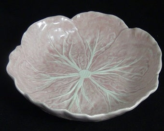 Lovely Vintage Soft Pink Glazed Pottery Portuguese Cabbage Bowl