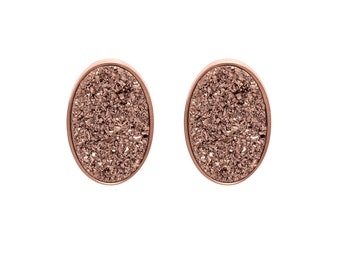 Druzy Stud Earrings - Druzy Studs - Rose Gold Druzy - Rose Gold Studs - Large Oval Studs - Rose Gold Stud Earrings
