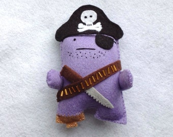 Captain James Sharkbait - Pirate King of the Salty Seas - Felt handmade original decoration / toy