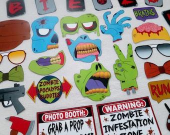 PDF - Zombie Apocalypse Photo Booth Props - PRINTABLE / DIY