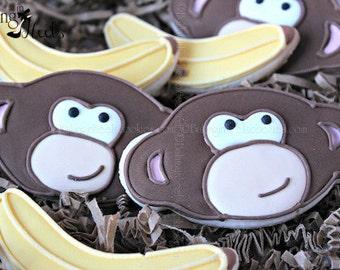 Monkey Decorated Cookies, Monkey Cookies, Banana Cookies, Birthday Cookies, Animal Cookies,Zoo Cookies