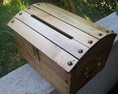 Small Wooden Wedding Treasure Chest Card Box with Card Slot Stained Golden Oak