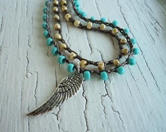 Angel Wing Necklace, Layered Turquoise Angel Wing Necklace, WIng necklace, crochet angel wing necklace, boho layered necklace, Wrap Bracelet