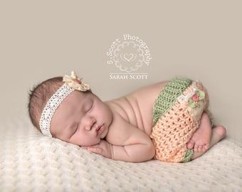 Newborn Shabby Shorts Set - Photo Prop - Baby Girl