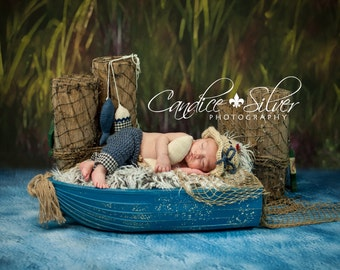 Newborn Fishing Hat, Pants and Fish - Photo Prop