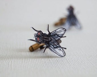 House Fly Cufflinks | Insect, Entomology, Bug | Gift for Men | Gifts Under 25