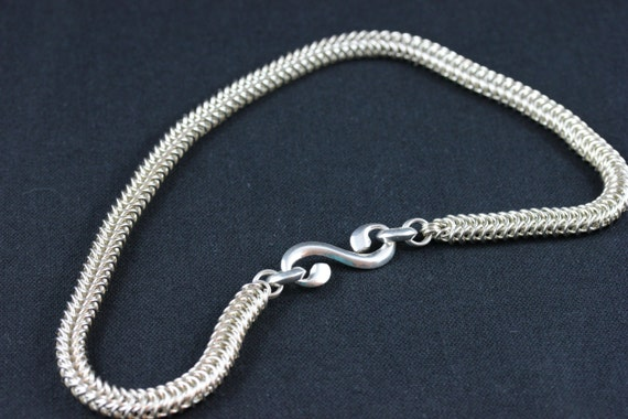 RESERVED FOR RETRO1RUFF:  Streling Silver Box Link Chain Maille Necklace