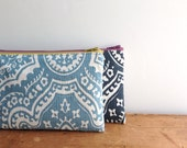 Sky Blue Damask Pencil Case, Zipper Pouch, Back to School, Cosmetic pouch, Sky Blue and Yellow