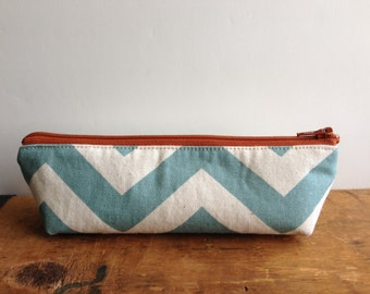Pencil Case, Aqua Blue Chevron Triangle, Zipper Pencil Pouch, Orange Zipper
