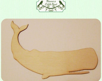 Whale / Ocean / Nautical  (Large ) Wood Cut Out -  Laser Cut