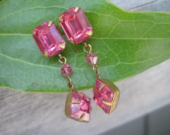 Vintage Pair of Pink Faceted Cut Glass Pierced Dangle Drop  Earrings