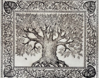 Limited edition etching 'Linden Tree'